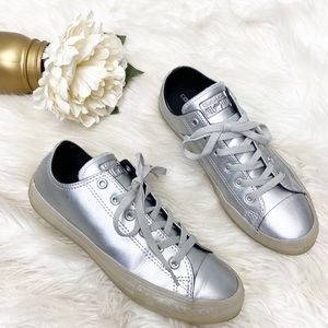 Converse Pure Silver Metallic Low Top Sneakers